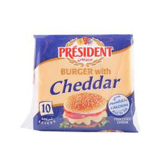 PRESIDENT BURGER CHEDDAR SLICE CHEESE 200 GR