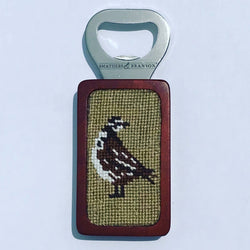 Magnetic Bottle Opener with Needlepoint Quail Logo
