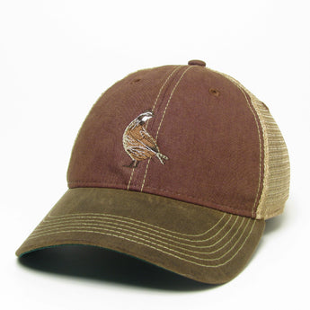 Garnet / Brown Visor Waxed Cotton Trucker Hat