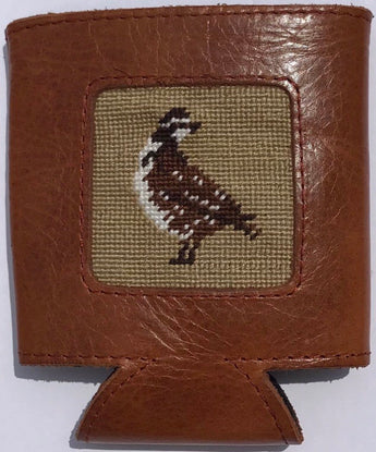 Leather Needlepoint Koozie with Quail logo