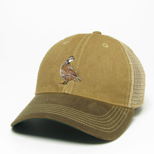 Khaki / Brown Visor Waxed Cotton Trucker Hat