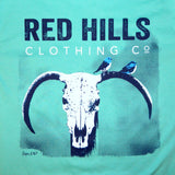 Skull with Blue Birds Short Sleeve Tee Shirt Seafoam
