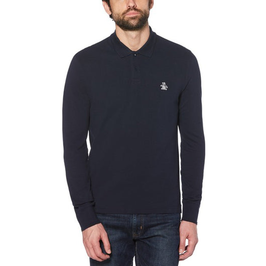 RAISED RIB LONG SLEEVE POLO SHIRT