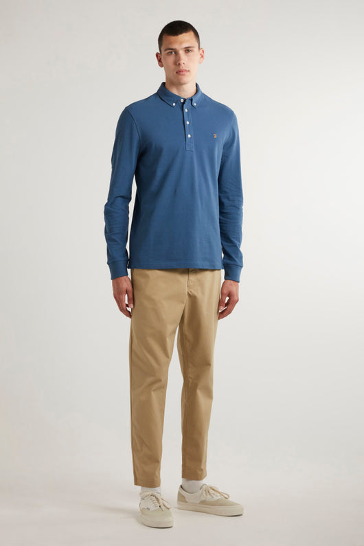 Ricky Slim Fit Long Sleeve Organic Cotton Polo