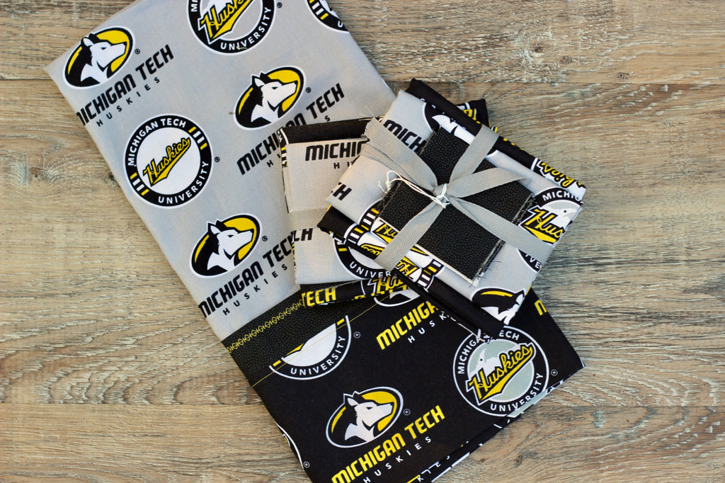 Michigan Tech Cotton Pillowcase Kit: Grey with Black
