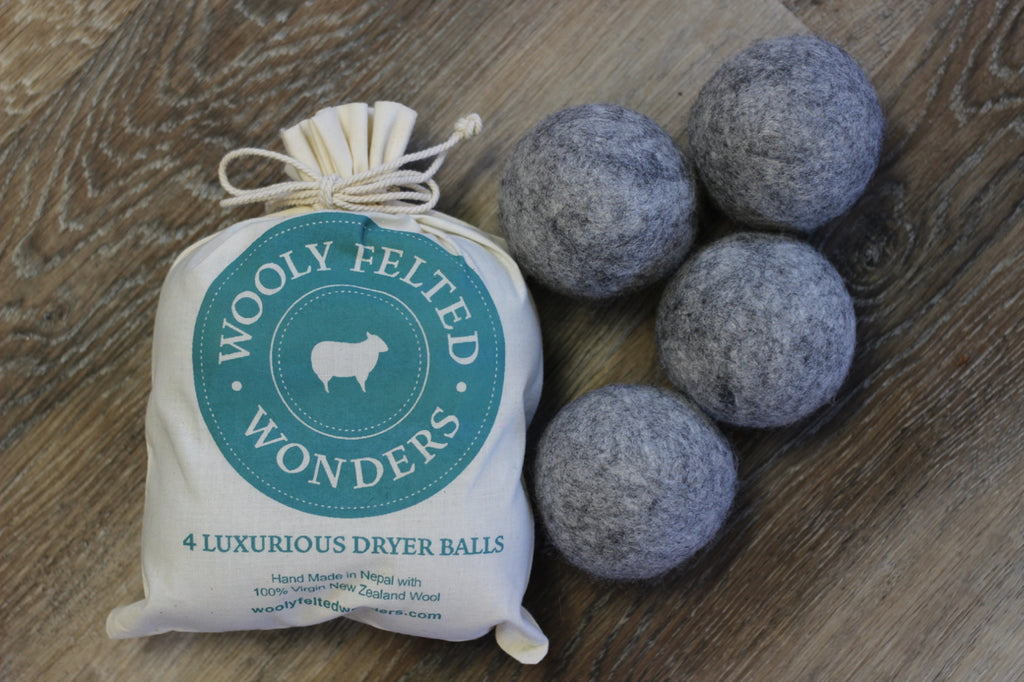 Wooly Felted Wonders Dryer Balls (Set of 4, Gray)