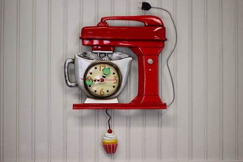 Vintage Mixer Pendulum Clock, Red