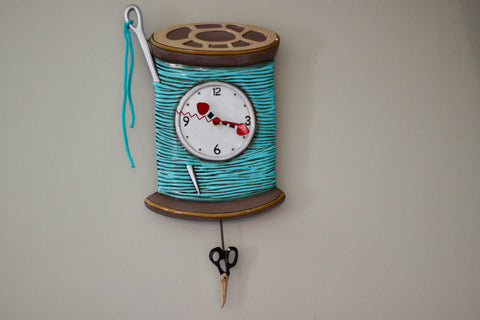 Needle and Thread Pendulum Clock, Turquoise