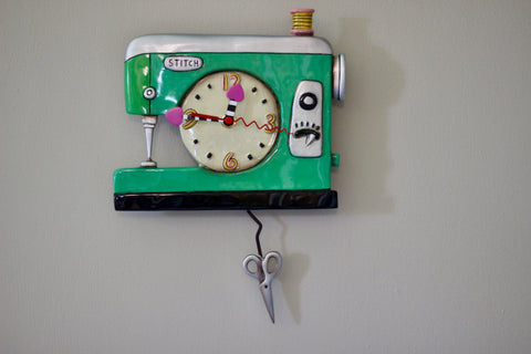 Stitch Sewing Machine Pendulum Clock, Green