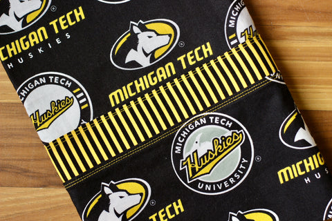 Michigan Tech Cotton Pillowcase Kit: Black with Stripes