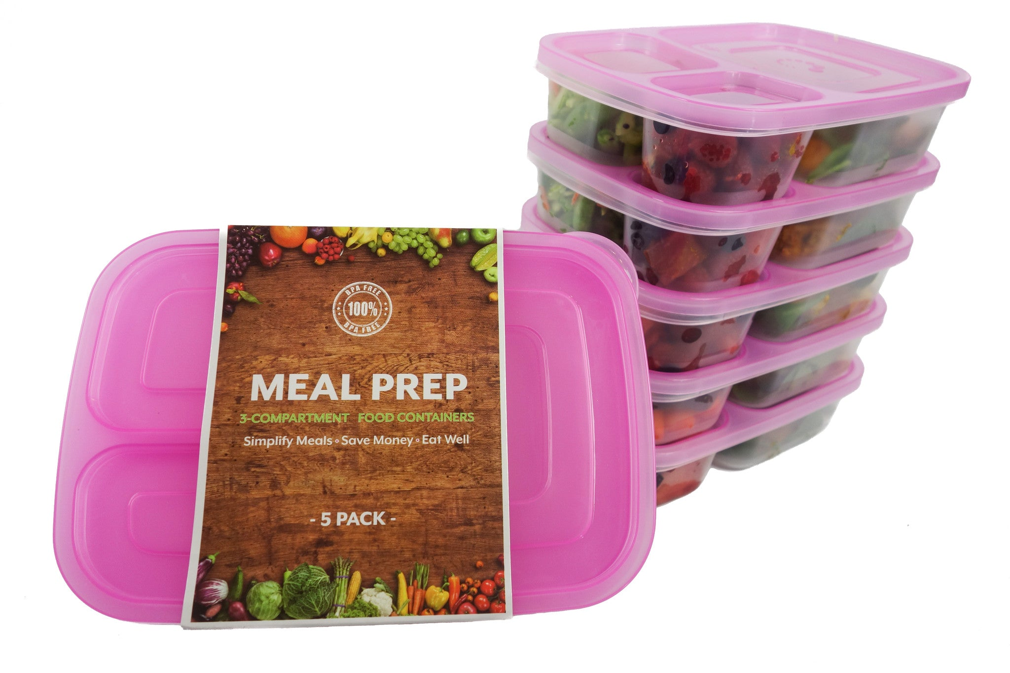 5 Pack BPA Free Food Prep Containers Pink Meal Prep Turning to