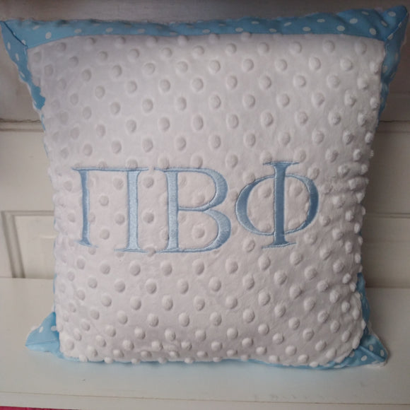 Minky Dot Square Pillow - Pi Beta Phi