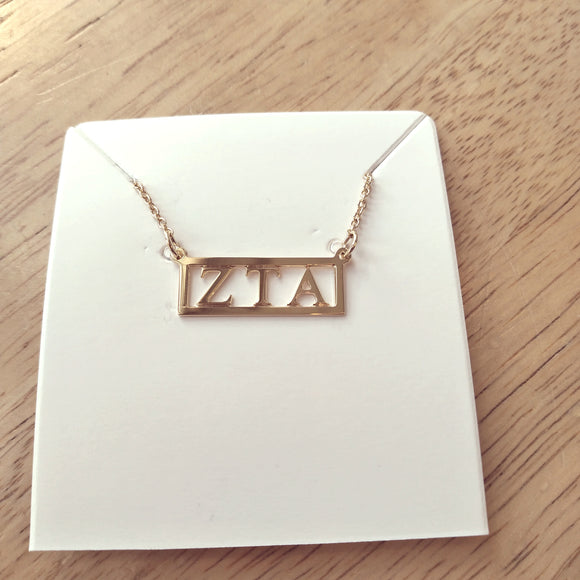 Gold Cutout Bar Necklace - Zeta Tau Alpha