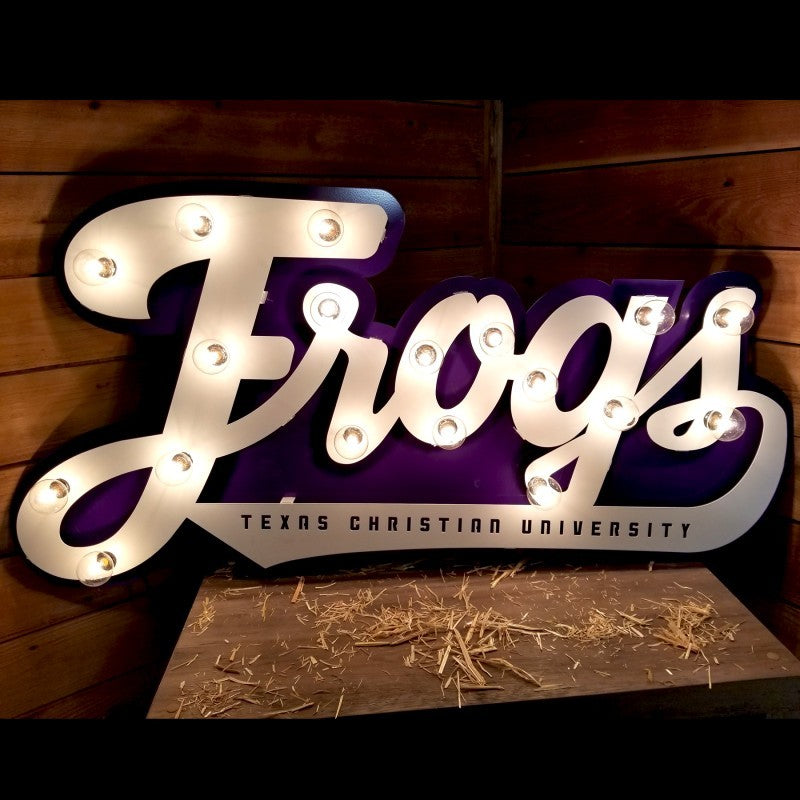 TCU Frogs Lit Script Sign