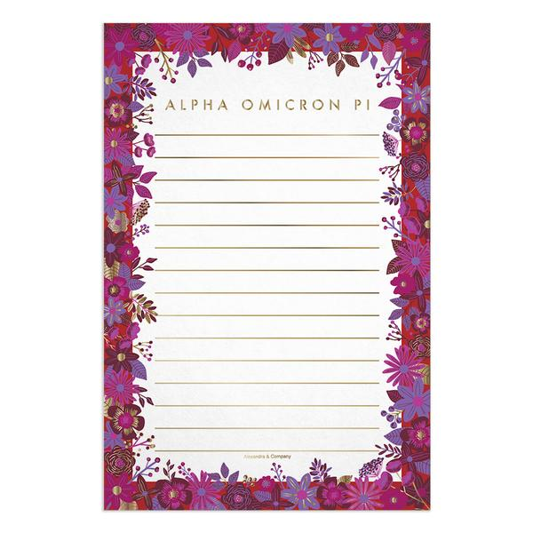 Floral Notepad - Alpha Omicron Pi