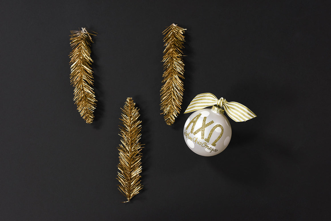 Gold and White Ornament - Alpha Chi Omega