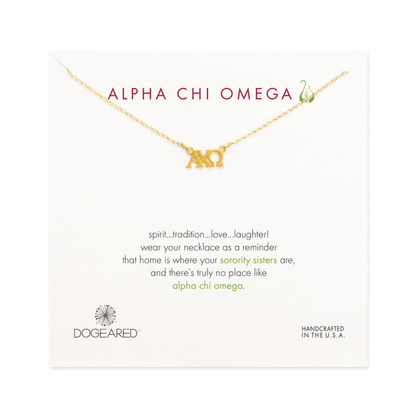 Dogeared Gold Letter Necklace - Alpha Chi Omega