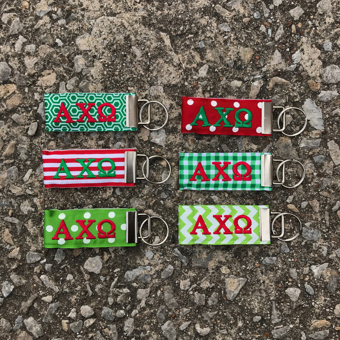 Ribbon Key Fob - Alpha Chi Omega