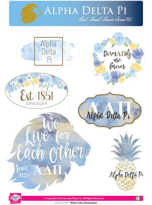 Water Color Stickersheet - Alpha Delta Pi