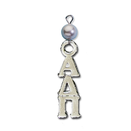 Small Vertical Letter Drop with Pearl - Alpha Delta Pi