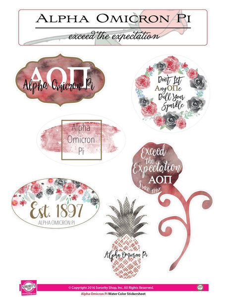 Water Color Stickersheet - Alpha Omicron Pi