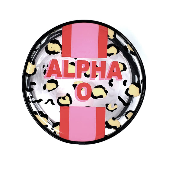 Leopard Stripe Cosmetic Bag - Alpha Omicron Pi