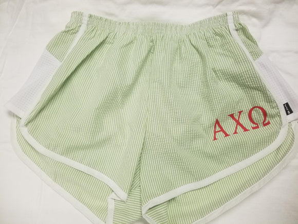 Striped Seersucker shorts - Alpha Chi Omega