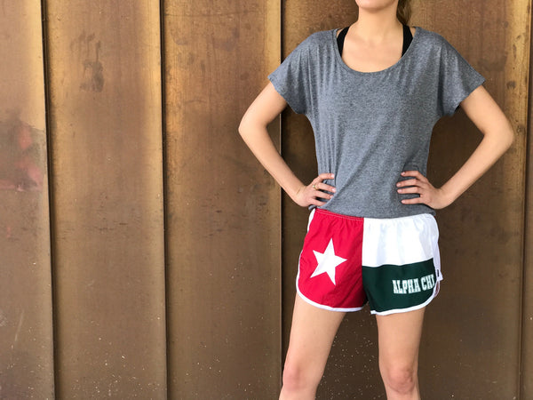 Texas Flag Sorority Shorts - Alpha Chi Omega