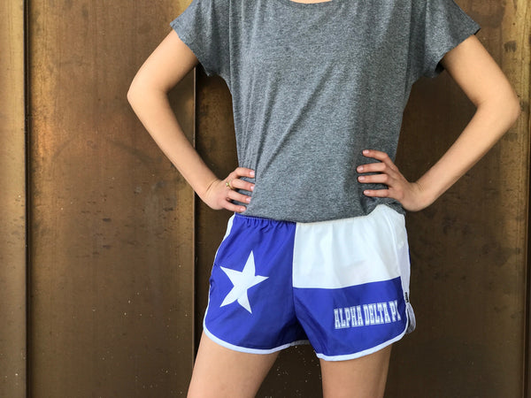 Texas Flag Sorority Shorts - Alpha Delta Pi