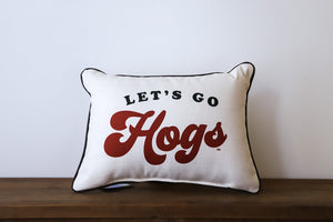 Let's Go Hogs Pillow (Arkansas)