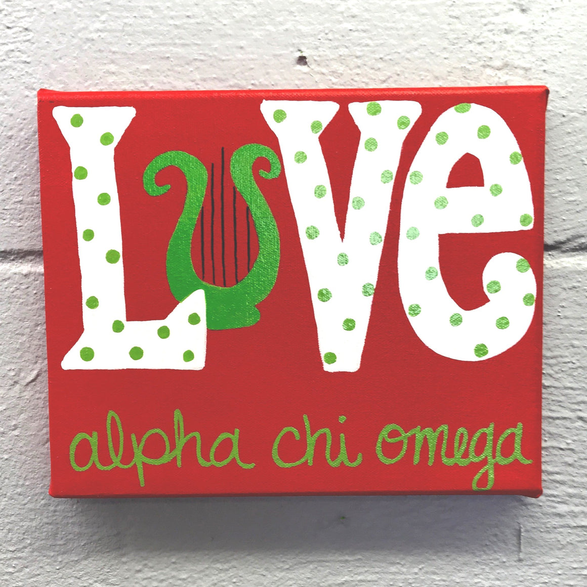 Love Painted Canvas - Alpha Chi Omega