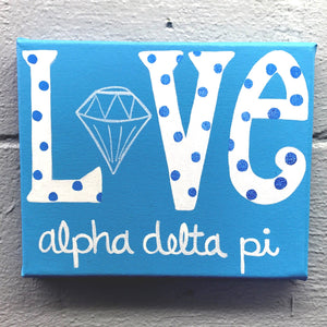 Love Painted Canvas - Alpha Delta Pi