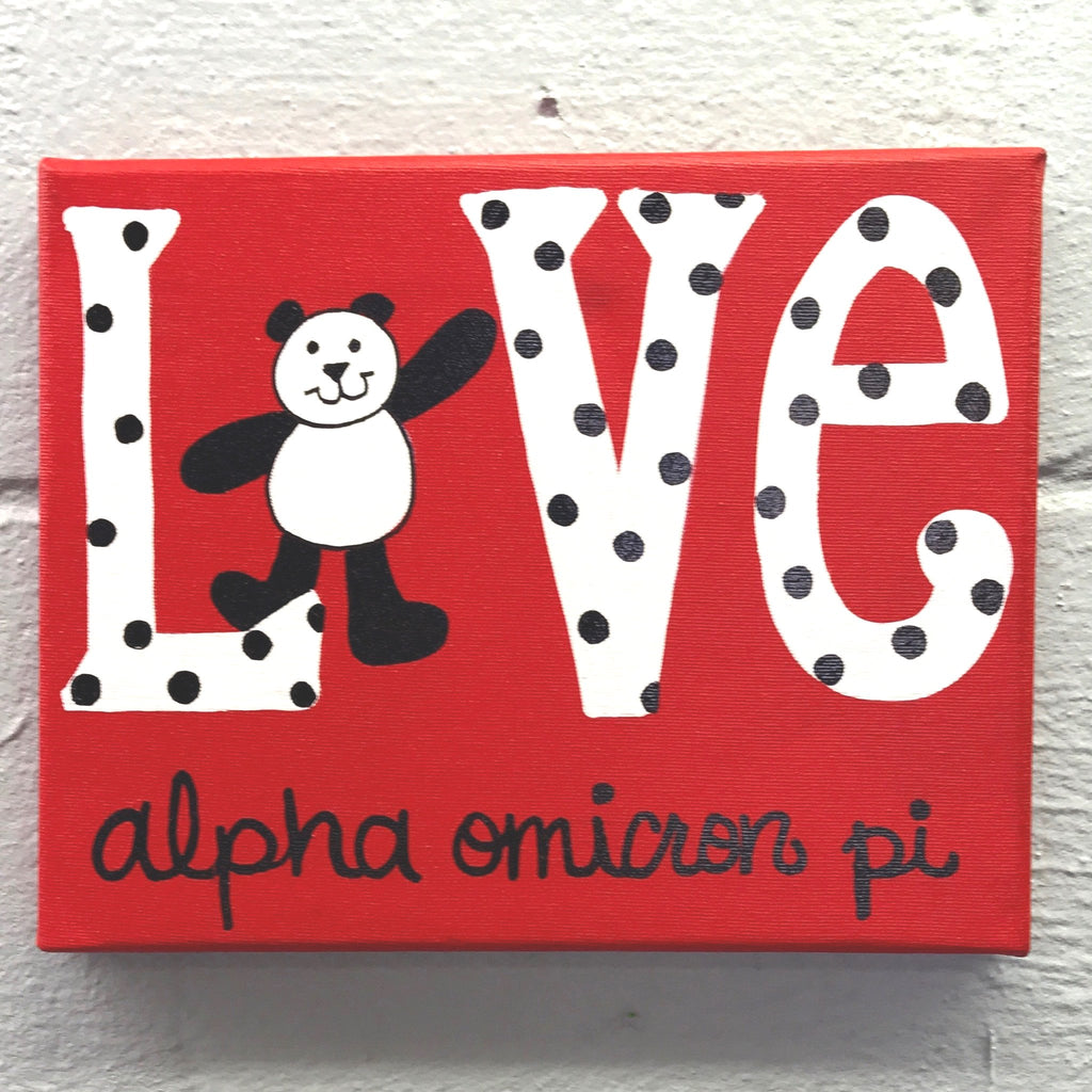 Love Painted Canvas - Alpha Omicron Pi