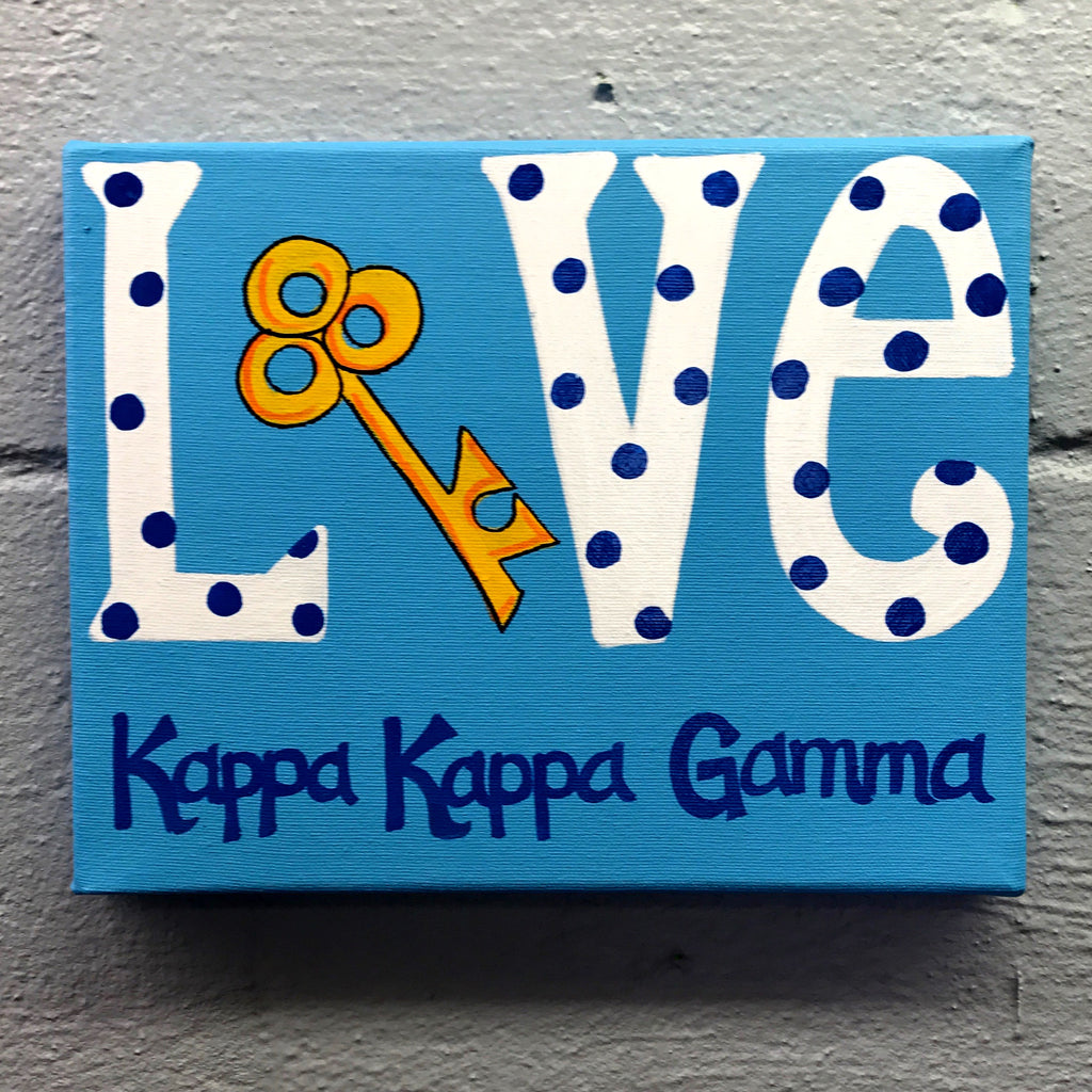 Love Painted Canvas - Kappa Kappa Gamma