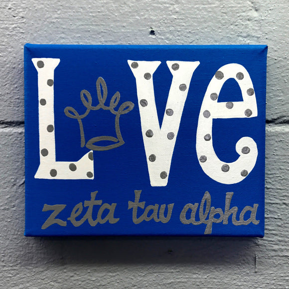 Love Painted Canvas - Zeta Tau Alpha