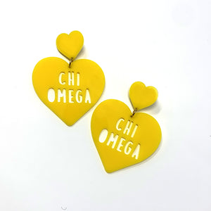 Acrylic Heart Earrings - Chi Omega