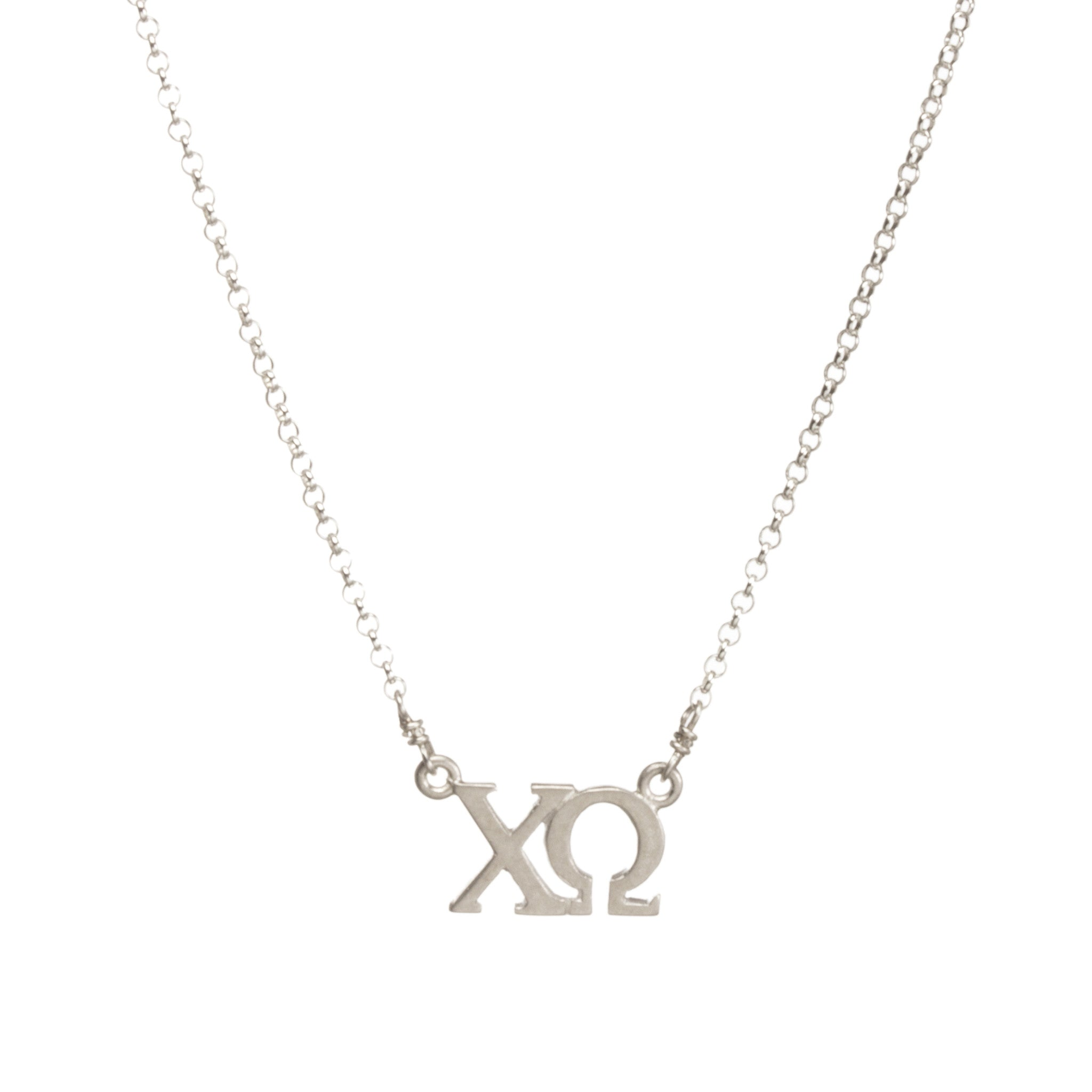 Dogeared silver letter necklace chi omega brown bag etc dogeared silver letter necklace chi omega aloadofball Choice Image