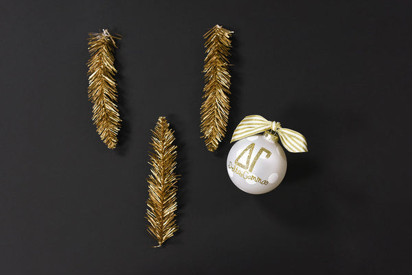 Gold and White Ornament - Delta Gamma