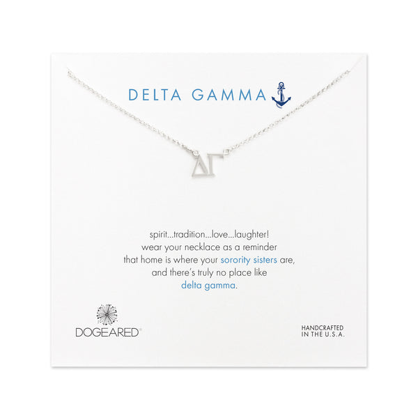 dogeared silver letter necklace delta gamma