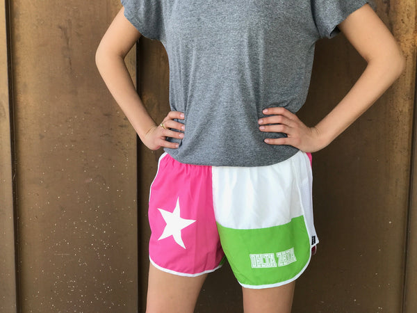 Texas Flag Sorority Shorts - Delta Zeta