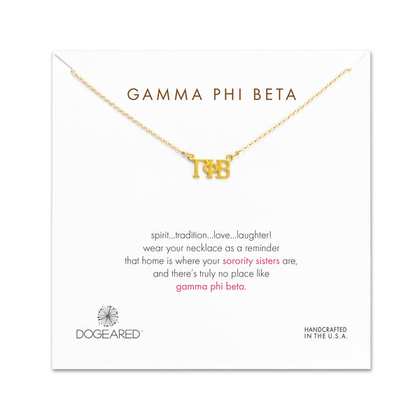 Dogeared Gold Letter Necklace - Gamma Phi Beta