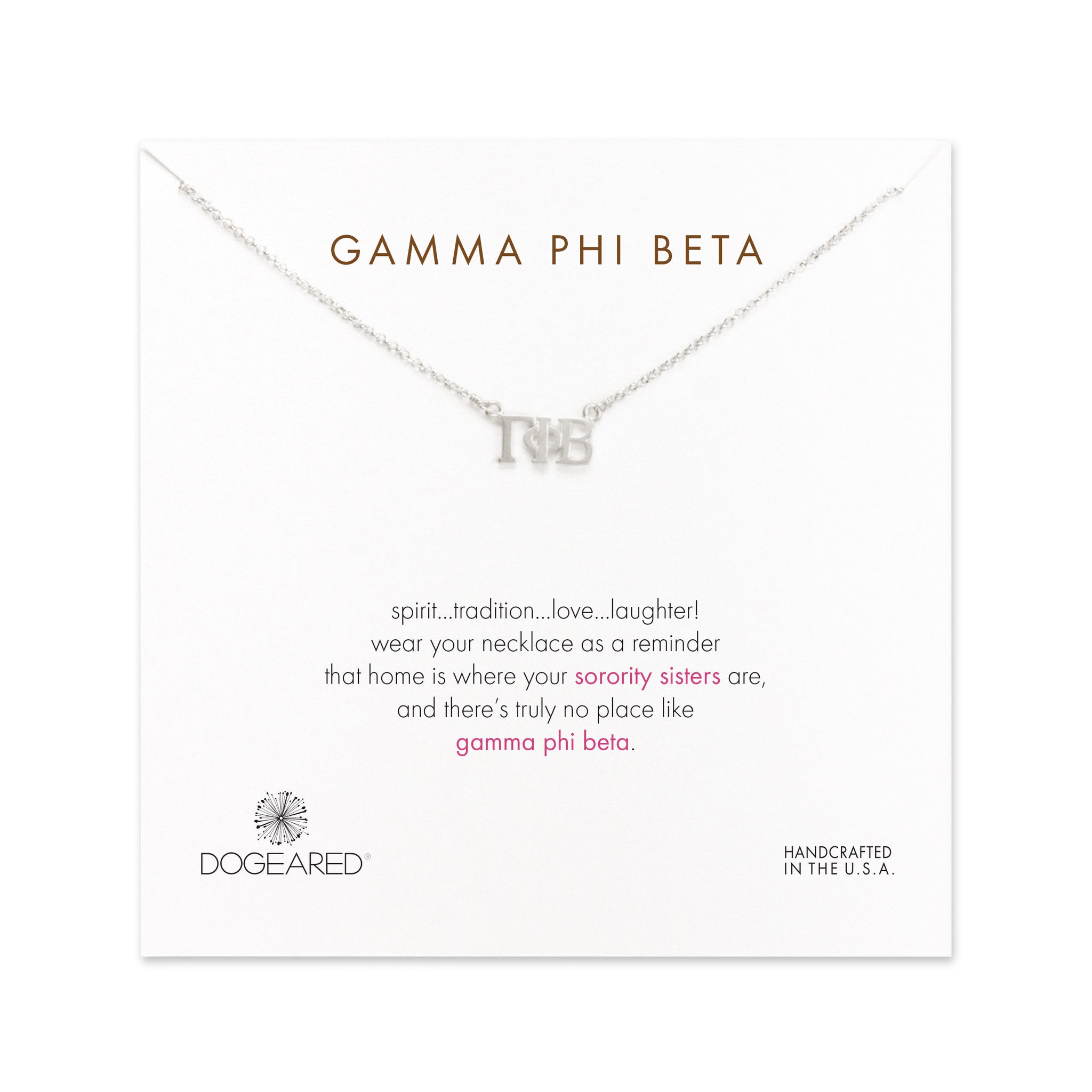 dogeared silver letter necklace gamma phi beta