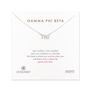 Dogeared Silver Letter Necklace - Gamma Phi Beta