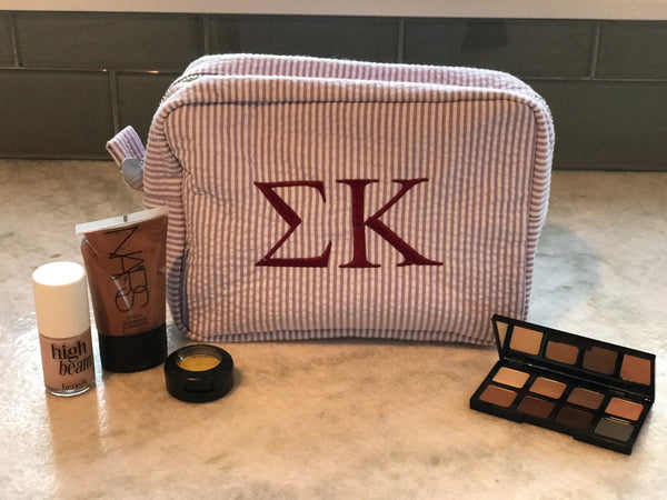 Seersucker Makeup Bag - Sigma Kappa