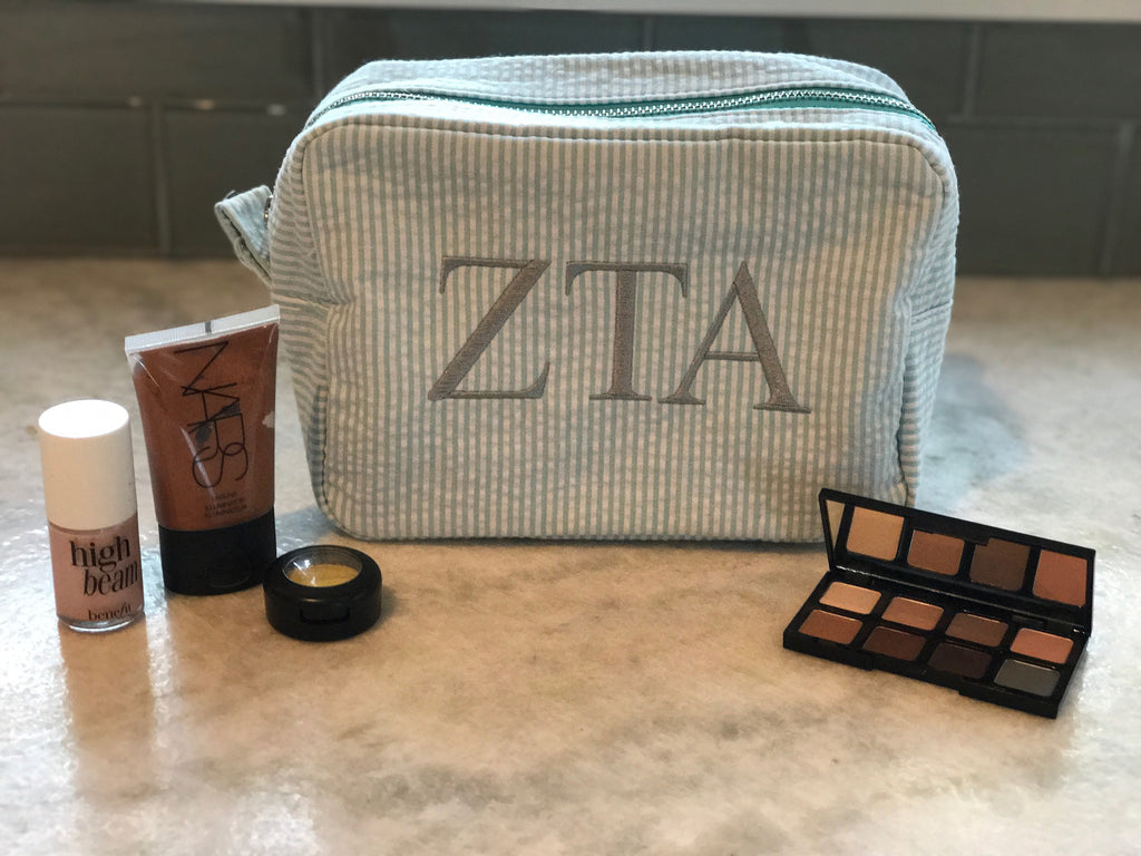 Seer Sucker Makeup Bag - Zeta Tau Alpha