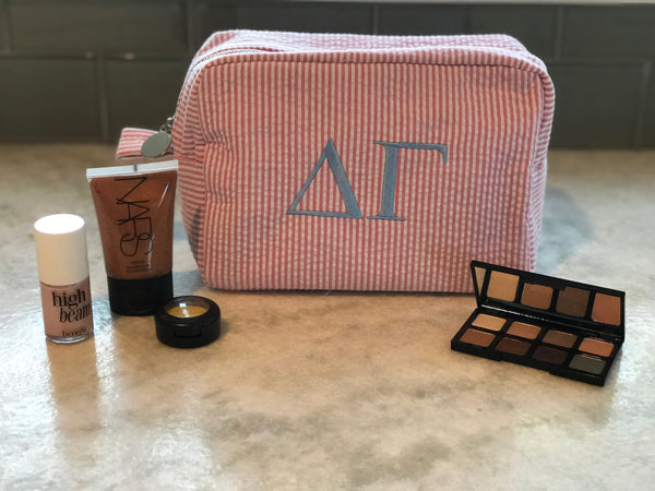 Seersucker Makeup Bag - Delta Gamma