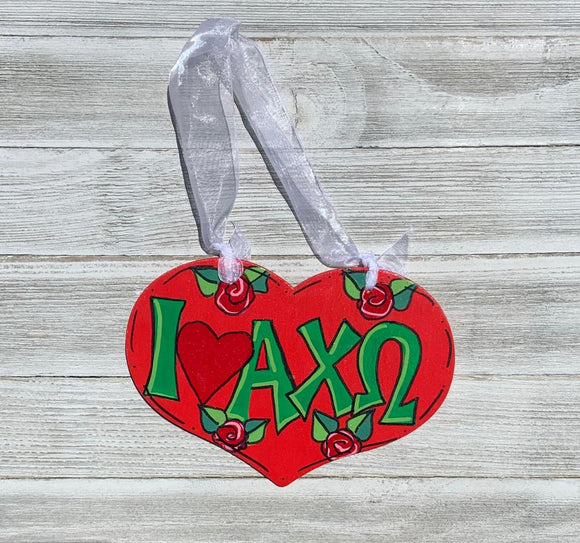Hand-Painted Wood Heart - Alpha Chi Omega