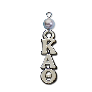 Small Vertical Letter Drop with Pearl - Kappa Alpha Theta