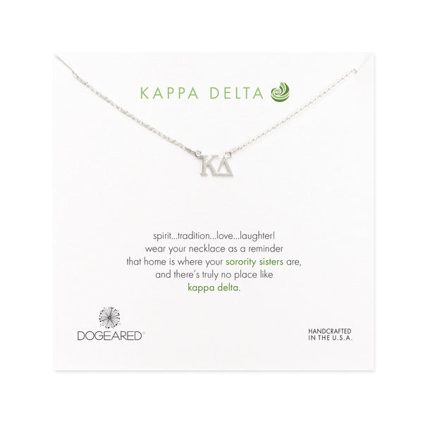 Dogeared Silver Letter Necklace - Kappa Delta