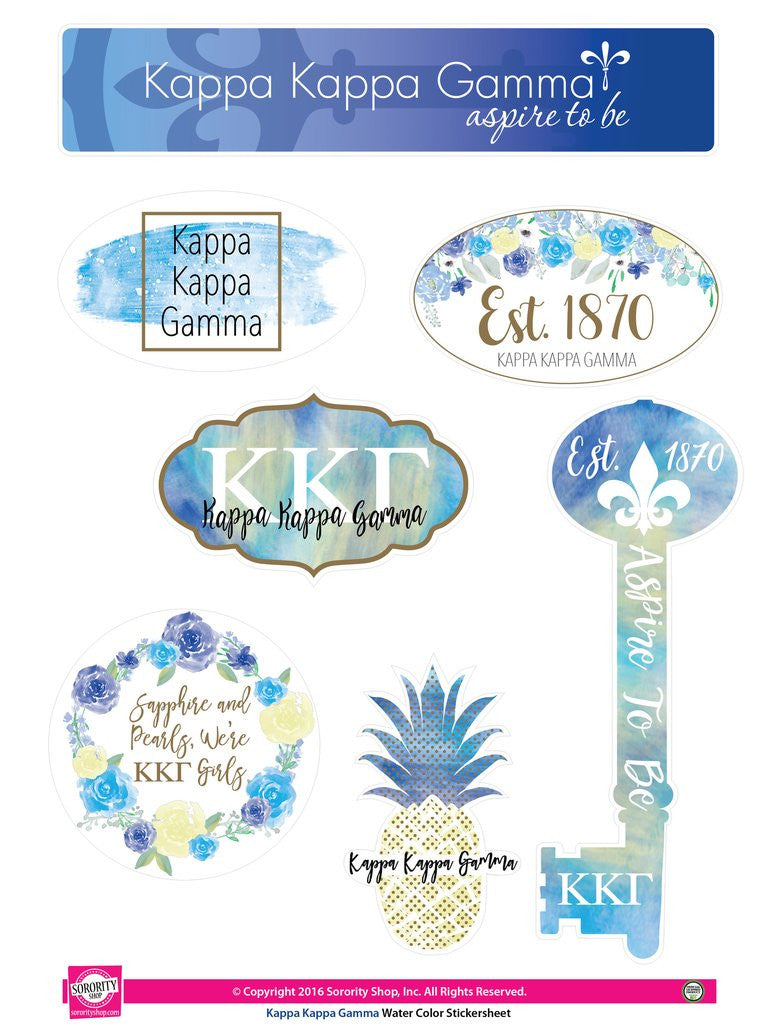 Water Color Stickersheet - Kappa Kappa Gamma